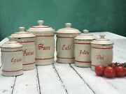 Vintage French Enamelware Canisters Spice Set 6