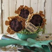 Tattered Primitive Sunflower Bowl Fillers, Farmhouse Set Of 3, Tiered Tray Decor