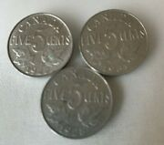 1922 - 1931 Canada Canadian 5 Cent Nickel Coins - Lot Of 3