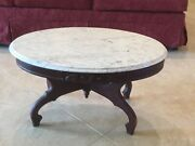 Antique 1800s Eastlake Victorian Marble Top Coffee Table