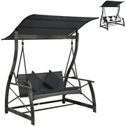 Garden Swing Chair Poly Rattan Outdoor Bench Chair 3-seater Lounge With Canopy