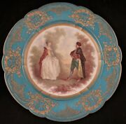 Antique French Sevres Porcelain Scalloped Rim Plate Courting Scene. 9 3/8andrdquo Dia.