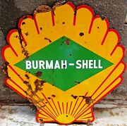 Shell Gasoline Oil Pump Sign Enamel Porcelain 60 Inches X 60 Inches