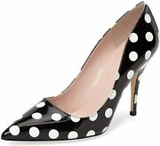 Ydn Women Chic Pointed Toe Slip On Stilettos Mid Heel Pumps Polka Dots Shoes For