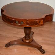 1920s Antique English Regency Mahogany And Walnut Center Hall Table / Game Table