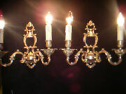 Nice Pair French 1960 Louis Xv Bronze Rococco Sconces Cage Lights Castle 5 Avail