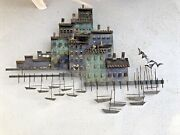 Curtis Jere Signed Metal Arts Sculpture 1971 Harbor Village And Fishing Boats X
