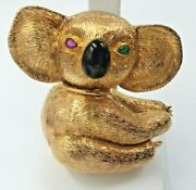 Koala Bear Pin Brooch With Onyx-ruby And Emerald Eye In 14kt Yellow Gold