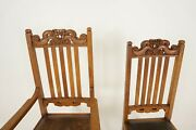 6 Antique Carved Oak Arts And Crafts Dining Chairs 5 + 1, Scotland 1910, B2417