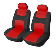 2 Front Black Red Leatherette Auto Car Seat Cushion Covers Universal Fit 15908