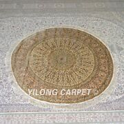 Yilong 5and039x5and039 Handmade Silk Carpet Round Luxury Kid Friendly Indoor Rug Mc668a