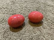 Vintage Lot Of 2 Red Pink Stone Alabaster Marble Eggs Decor Holiday