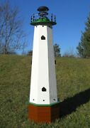 Well Pump Cover Wooden Lighthouse With Solar Light - 4 Ft Tall - Green Accents