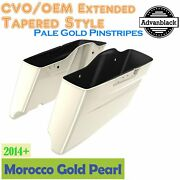 Morocco Gold Pearl Cvo Tapered Stretched Saddlebags Pinstripes For 2014+ Harley