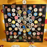 Vintage Lucien Piccard Watches Display Clock W/ Casino Chips And Dice See Photos