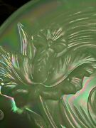 Huge 14 Fenton Charger Plate Iridescent Jadite Green Glass Orchid Signed