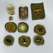 Lot Of 10 Vintage 1940s Boy Scout Merit Badge Patches, Pins, And Brass Tie Slide