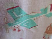 Adorable Vintage 40's 50's Barkcloth Children's Drapes Pink W/dolls And Airplanes