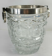Antique Art Deco Silver Plated Crystal Ice Bucket Made In France French Signed