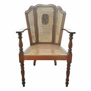 Vintage Victorian Antique Style Cane Butterfly Back Arm Chair