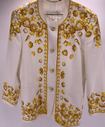 Vintage Escada Blazer Jacket Patterned Gold Tone/faux Pearl Buttons Size 42 Ra