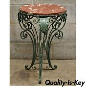 Vintage Round Rouge Marble Top Wrought Iron French Art Nouveau Style Side Table