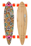 40 Pintail Bamboo Longboard Sugar Skull Graphic -180mm Pink- 70mm Wheels