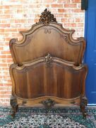 French Antique Carved Walnut Louis Xv Twin Size Bed With Rails