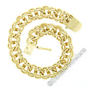 Vintage 14k Yellow Gold 6 Double Loop Open Ring Link Charm Chain Bracelet