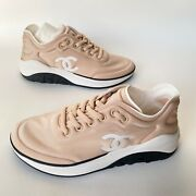 19p Beige Nylon Lycra Fabric Cc Logo Lace Up Sneakers Trainer Shoes 36.5