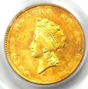1855 Type 2 Indian Gold Dollar G1 Coin - Certified Pcgs Xf45 Ef45 - Rare
