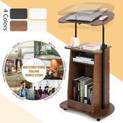 Sit-to-stand Laptop Desk Cart Home Rolling Mobile W/ Storage Adjustable Height