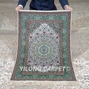 Yilong 2and039x3and039 500lines Handknotted Silk Green Tapestry Home Indoor Rug Mc561h