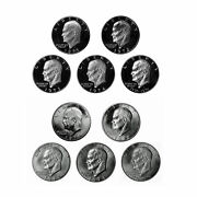 1971-1976 S Eisenhower Dollar Bu And Proof 40 Silver 10 Us Coin Lot