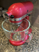 Rare Raspberry Ice Kitchenaid Mixer With 4 Attachments And Glass Mixing Bowl