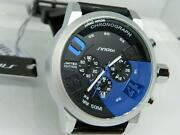 Sinobi Menand039s Chronograph Silicon Strap Watch With 24 Hour Dial And Date Blue