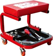 Torin Rolling Creeper Garage Shop Mechanic Padded Seat Stool With Tool Tray Red