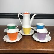 Vintage Japan Demitasse Tea Set 5 Cups And Saucers And Teapot Colorful