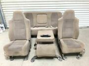01-04 Ford F250 Super Duty Crew Cab Front And Rear Power Cloth Seats W Console Tan