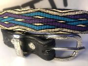 Handmade Hitched Horse Hair Leather Belt Montana State Prison Made Collectible