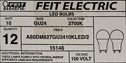 24 12 - 2 Packs Feit Gu24 A19 2 Pin Led Dimmable 800 Lumens 10w/60w Equivalent