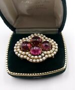 Antique Vintage 14k Gold And Small Pearls/ Tourmaline Cabochon Brooch/pin 16 Gram