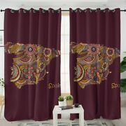 Mandala Floral Map Spain Country Window Living Room Bedroom Curtains Drapes
