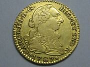1787 Madrid 1 Escudo Charles Iii Spanish Gold Spain Coin Colonial