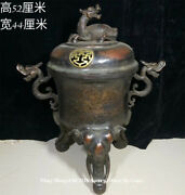 20 Old China Purple Bronze Elephant Dragon Incense Burner Censer Statue