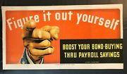 Wwii Ww2 Original Poster Figure It Out Yourself Uncle Sam Buy War Bond Homefront