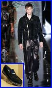 F/2013 New Versace Black Patent Leather Loafers Shoes With Studs 44 - 11