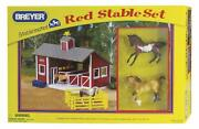 Breyer Stablemates Red Stable And Horse Set | 12 Piece Play Set With 2 Horses