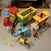 Vtg. Fisher Price Little People 991 3 Car, Circus Train Set W/animals