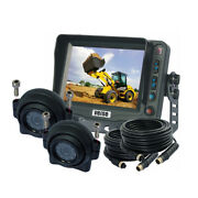 5 Monitor Forklift Truck Rear View Backup Camera System With 2 Dome Ccd Camera
